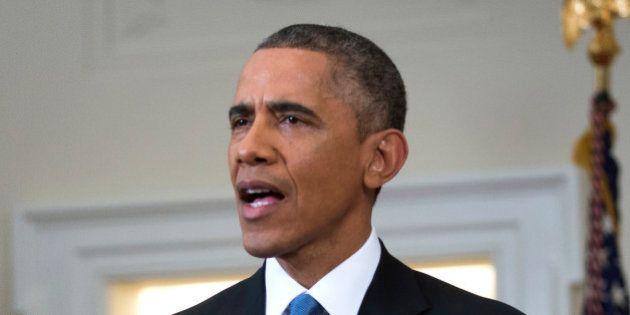 WASHINGTON, DC - DECEMBER 17: U.S. President Barack Obama speaks to the nation about normalizing diplomatic...