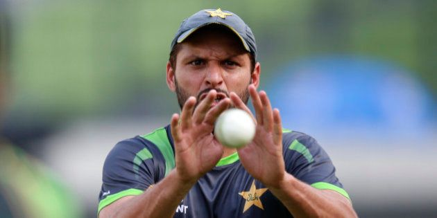 Pakistan's Shahid Afridi prepares to catch the ball during a training session ahead of their ICC Twenty20...