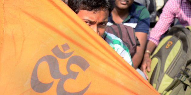 KOLKATA, WEST BENGAL, INDIA - 2014/12/20: The supporters of Rashtriya Swayamsevak Sangh (RSS) Chief Mohan...