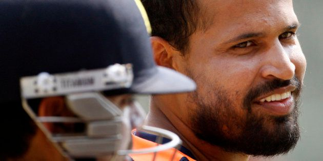 India's Yusuf Pathan smiles during a training session in the nets in Dhaka, Bangladesh, Sunday, March...