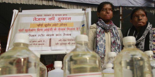 NEW DELHI, INDIA - DECEMBER 21: Acid attack victims sit on hunger strike demanding fast-track court for...