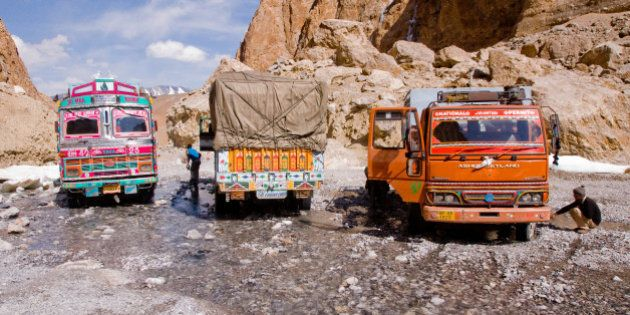[UNVERIFIED CONTENT] Large Nullah (mountain stream) crossing in the canyon before Pang on the Manali-Leh...