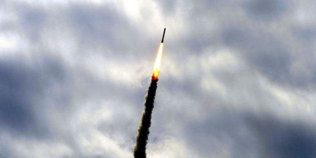 SRIHARIKOTA, INDIA - JUNE 30: India's Polar Satellite Launch Vehicle PSLV-C23 launched by Indian Space...
