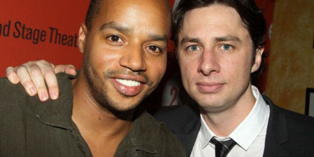 NEW YORK - AUGUST 12: Donald Faison (L) and Zach Braff (costars of 'Scrubs') pose at the 'Trust' Off-Broadway...