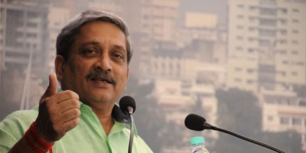 GURGAON, INDIA - NOVEMBER 23: Defense Minister Manohar Parrikar addressing the Air force officers during...