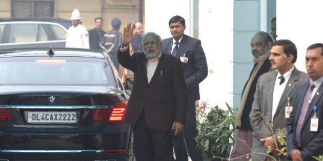 NEW DELHI, INDIA - DECEMBER 24: Prime Minister Narendra Modi along with BJP President Amit Shah arrive...