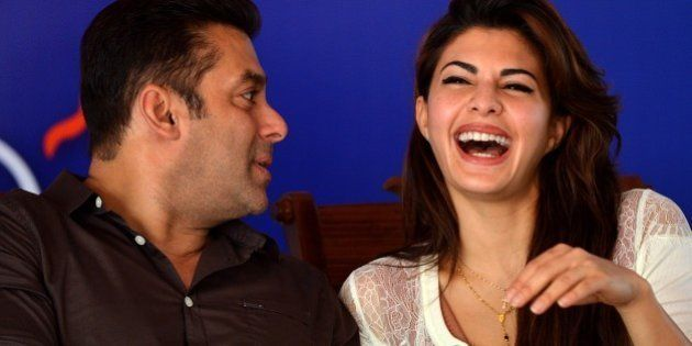 Indian Bollywood film actor Salman Khan (L) chats with Sri Lankan Bollywood film actress Jacqueline Fernandez...