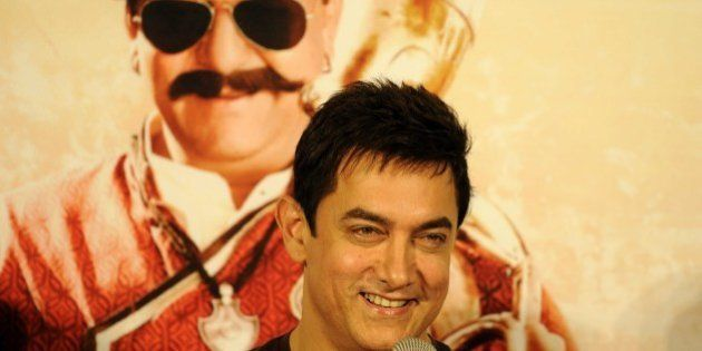 NOIDA, INDIA - NOVEMBER 8: Bollywood actor Aamir Khan during the launch of song from the upcoming Bollywood...