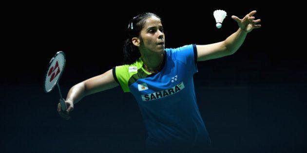 DUBAI, UNITED ARAB EMIRATES - DECEMBER 19: Saina Nehwal of India serves as she plays against Bae Yeon...