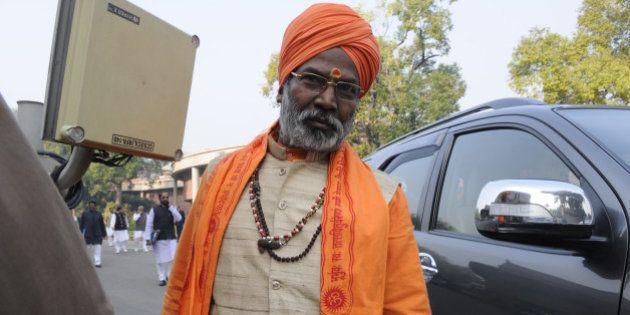 NEW DELHI, INDIA - DECEMBER 16: BJP MP Sakshi Maharaj after attending Parliament Board Meeting at Library...
