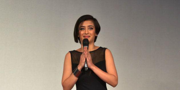 MUMBAI, MAHARASHTRA JANUARY 07 : Akshara Haasan at the trailer launch of SHAMITABH.(Photo by Milind Shelte/India...