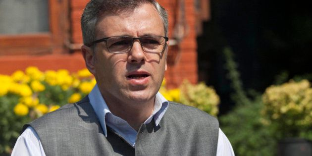 Jammu and Kashmir state Chief Minister Omar Abdullah addresses a press conference in Srinagar, India,...