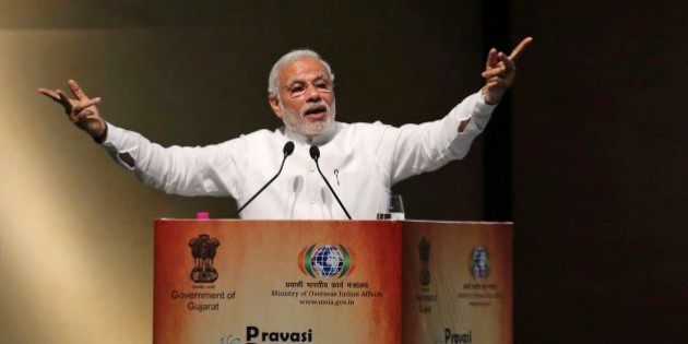 Indian Prime Minister Narendra Modi speaks during the Pravasi Bharatiya Divas (PBD) in Gandhinagar, India,...
