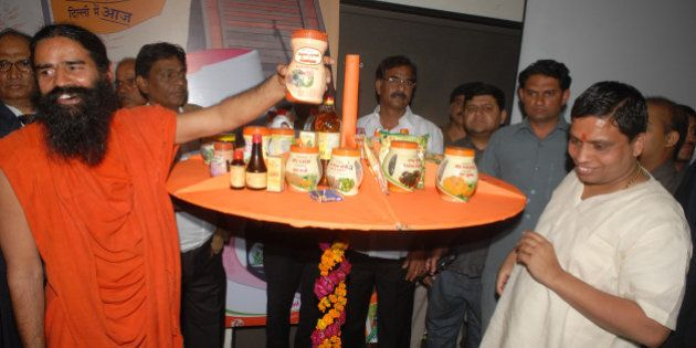 NEW DELHI, INDIA - MARCH 01: Baba Ramdev announcing the availability of Patanjali Ayurveda Products in...