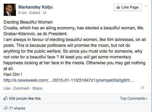 Justice Markandey Katju Thinks Beautiful Women Need To Be Elected