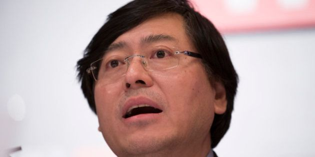 Yang Yuanqing, chairman and chief executive officer of Lenovo Group Ltd., speaks during a news conference...
