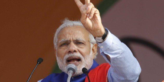 NEW DELHI, INDIA - JANUARY 10: Prime Minister Narendra Modi addresses during the 'Abhinandan rally' at...