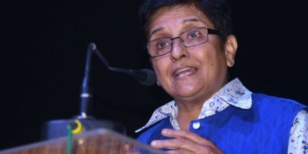 Former Indian police officer and social activist, Kiran Bedi addresses students after the launch of her...