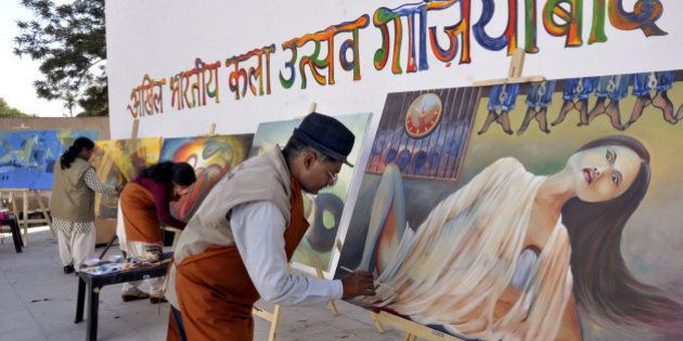 GHAZIABAD, INDIA - MARCH 3: Various artists from 11 different states are involved in sculptors and paintings...