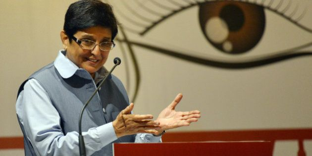 NEW DELHI, INDIA NOVEMBER 23: Social activist Kiran Bedi addressing the World Hindu Congress 2014 in...