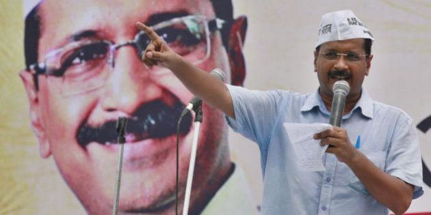NEW DELHI, INDIA - JULY 31: Aam Aadmi Party leader Arvind Kejriwal addressing a rally of auto drivers...