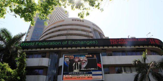 MUMBAI, INDIA - MAY 13: Bombay stock exchange on May 13, 2014 in Mumbai, India. The Sensex hit a record...