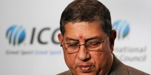 Newly elected International Cricket Council (ICC) chairman Narayanaswami Srinivasan of India is pictured...