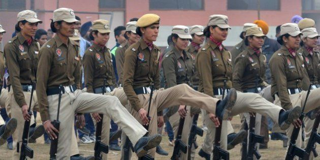 Indian Punjab state police women participate in a rehearsal for the upcoming 66th Republic Day parade...
