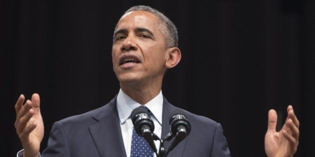 US President Barack Obama speaks on US - India relations during a townhall event at Siri Fort Auditorium...