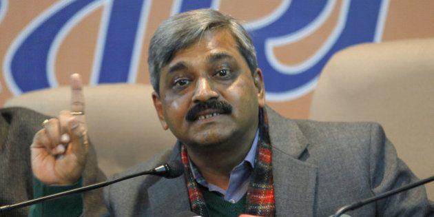 NEW DELHI, INDIA - JANUARY 14: (R- L) Delhi BJP President Satish Upadhyay along with Delhi BJP general...