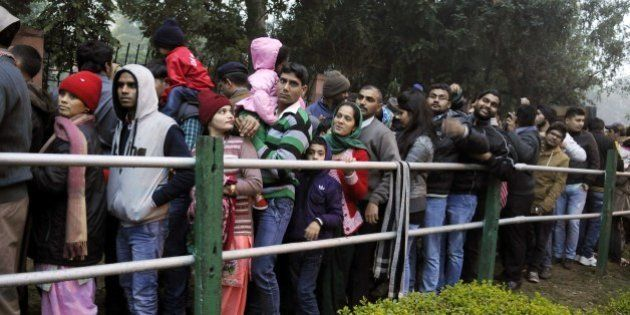 NEW DELHI, INDIA - JANUARY 26: Chaos was seen amongst visitors at the entry gates as huge crowd thronged...