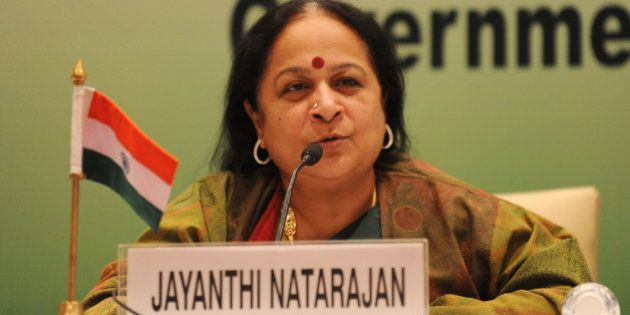 Indian Minister of Environment and Forests Jayanthi Natarajan addresses a press conference at the Tenth...