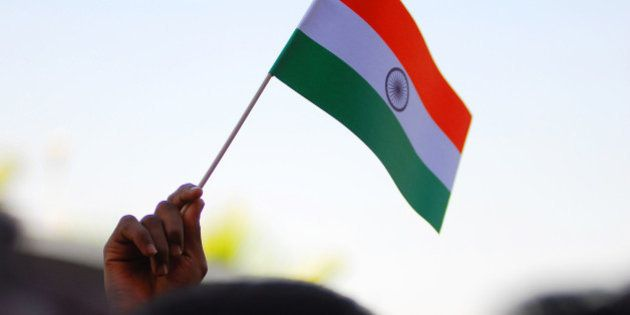 Happy Independence Day for India.Flag hoisting ceremony at the Indian Embassy in