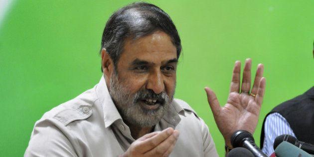 NEW DELHI, INDIA - SEPTEMBER 2: Congress leader Anand Sharma briefs the media on hundred days of Prime...