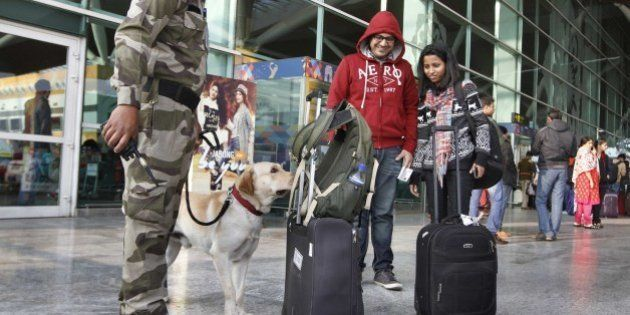 NEW DELHI, INDIA - JANUARY 4: CISF Personnel alert at 1D Domestic Airport, on January 4, 2015 in New...