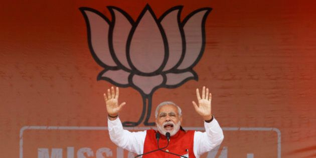 Indian Prime Minister Narendra Modi addresses an election campaign rally in Kathua, about 90 kilometers...