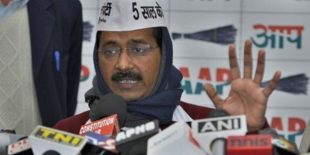NEW DELHI, INDIA - JANUARY 31: AAP chief Arvind Kejriwal talking to media after releasing the AAP Manifesto...