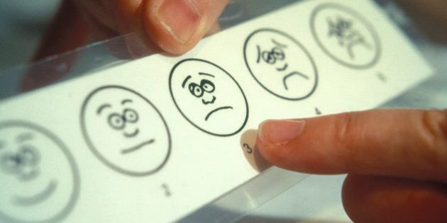 Card showing faces 'very happy' to 'very sad' so child can realte an expression to how they are feeling....