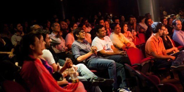 MUMBAI, MAHARASHTRA - AUGUST 13: Audiences react to stand-up comedians performing an act called Aisi-Taisi...
