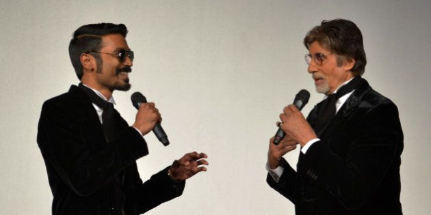 MUMBAI, MAHARASHTRA JANUARY 07 : Amitabh Bachchan and Dhanush at the trailer launch of SHAMITABH.(Photo...