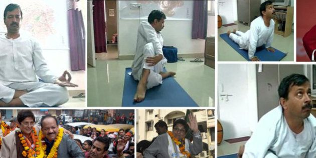 Day Before Polling, Kejriwal Gets A Haircut, Performs Yoga; Bedi Helps Community