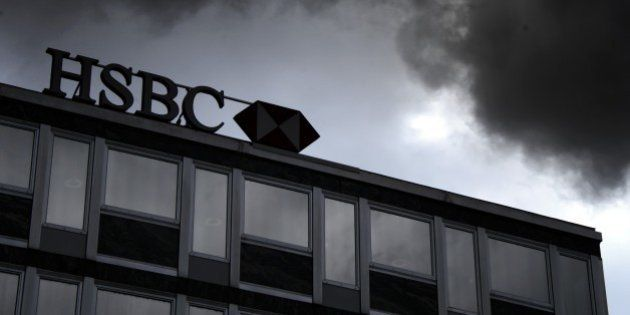 A sign of HSBC private bank (Suisse) is seen on June 14, 2013 in the center of Geneva. AFP PHOTO / FABRICE...