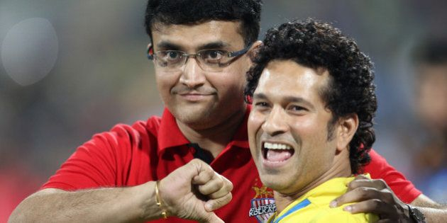 MUMBAI, INDIA - DECEMBER 20: Indian former cricketers and co-owners of Kerala Blasters, and co-owner...