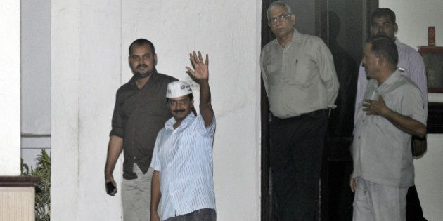 NEW DELHI, INDIA - NOVEMBER 3: Aam Aadmi Party chief Arvind Kejriwal comes out of LG House after meeting...