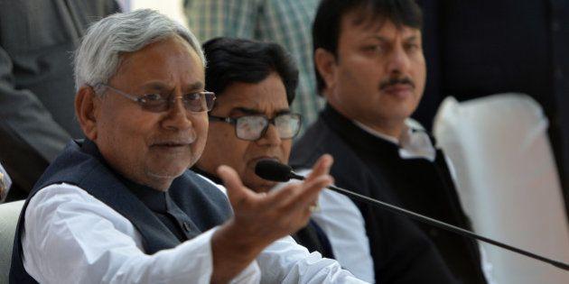NEW DELHI, INDIA DECEMBER 04: Nitish Kumar during a press conference after meeting at Mulayam Singhs...