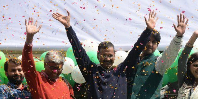 NEW DELHI,INDIA FEBRUARY 10: Aam Aadmi Party (AAP) chief and its chief ministerial candidate for Delhi,...