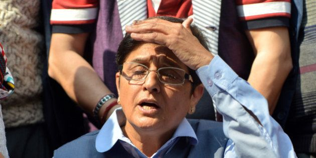 NEW DELHI,INDIA FEBRUARY 10: BJP chief ministerial candidate, Kiran Bedi after losing from her constituency...