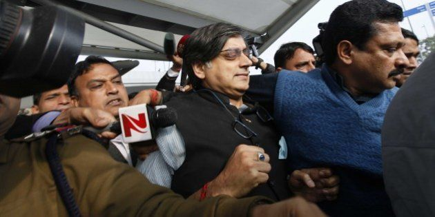 NEW DELHI, INDIA - JANUARY 11: Congress Leader Shashi Tharoor arrives at T3 terminal of IGI Airport after...