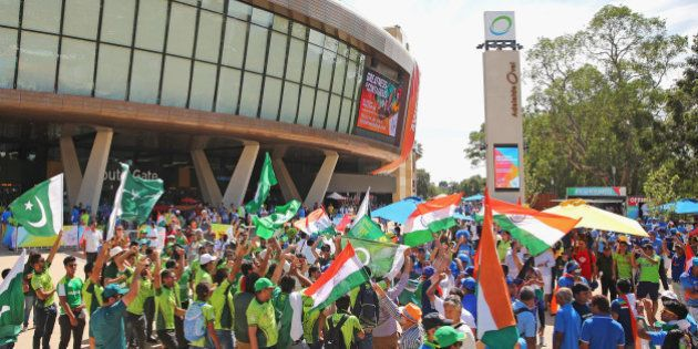 ADELAIDE, AUSTRALIA - FEBRUARY 15: Pakistan and India supporters wave their flags outside of the ground...