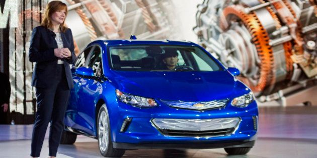 General Motors CEO Mary Barra talks about the 2016 Chevrolet Volt hybrid car at the North American International...